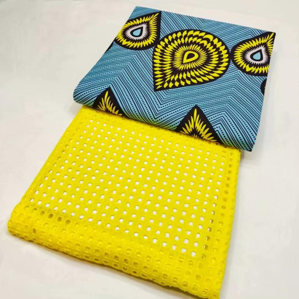 tessuto africano stampa cera africana abbinare svizzero voile pizzo in svizzera tessuto di pizzo giallo cotone tissu cera 3 + 2.5 yard WY-1
