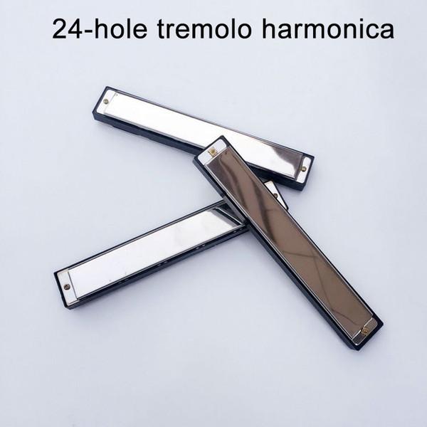 Silve Metal Harmonica 24 Hole Blues Diatonic Harp gaita de boca Mouth Organ Musical Instrument harp Tooth piano gift free shipping