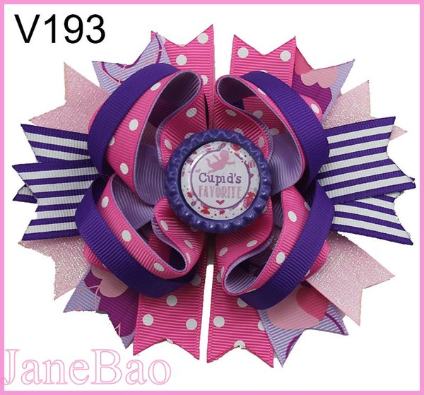 free shipping 30pcs valentine's day sprinkles hair bows popular cheer bows holiday hair clips valentines day gift---B