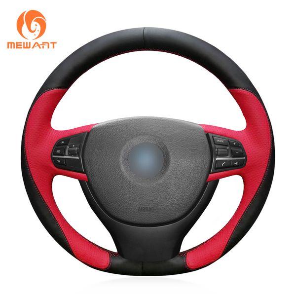 MEWANT Black Red Leather Hand sewn Car Steering Wheel Cover for BMW F10 523Li 525Li 2009 730Li 740Li 750Li