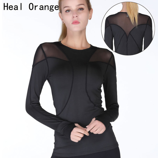 Heal Orange Top Yoga Shirts For Long Sleeve Sports T Shirt Fitness Jersey Female Women Sport Clothes Q190521