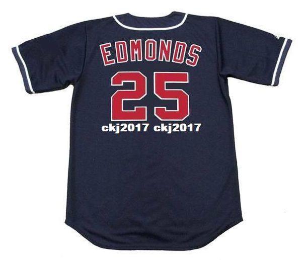 Cheap Custom JIM EDMONDS California Stitched 1995 Majestic Vintage Alternate Baseball Jersey Retro Mens Jerseys Running