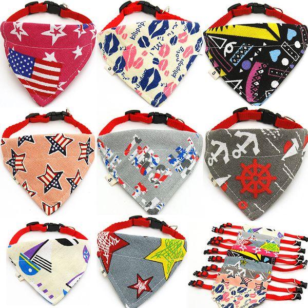 Cat bufanda Bufandas triangulares Pet Bandana Accesorios Producto caliente Collar de perro Bandana Bandanas lindos Algodón Baberos Collar