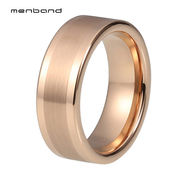 wholesale Wedding Rings for Men Women Rose Gold Comfort Fit Flat Band Engagement Rings Polished Matte Finished Comfort Fit