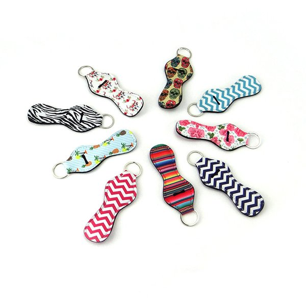Lipstick Holder Keychain Keyrings Neoprene Chapstick Key Chain Holder Lip Balm Holder Keychain with 10 Different Vibrant Prints