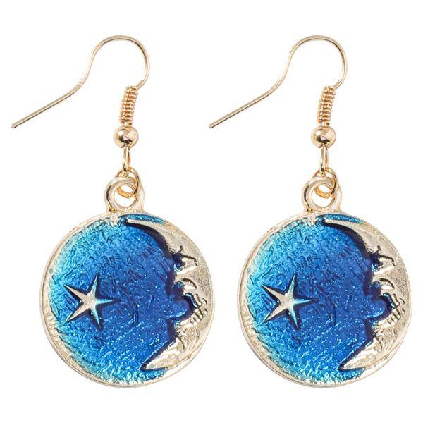 Kostenloser Versand! Sun kleine frische blaue Sterne Mond 925 Ohrringe asymmetrisch 100 Größe geometrische Runde lang reiner Silberschmuck Großhandel