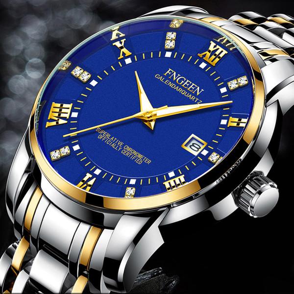 Erkekler için kuvars Bilek Saatler 2019 Yeni Marka FNGEEN Iş Rahat Izle Lüks Elmas Bilezik Saatler Erkek Saat İzle Erkekler