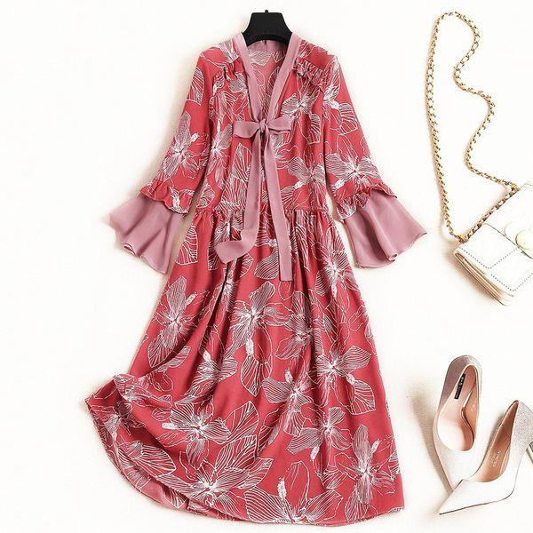 2019 Spring Luxury 3/4 Sleeve V Neck Floral Print Chiffon Ribbon Tie-Bow Knee-Length Dress Fashion Casual Dresses J0910184