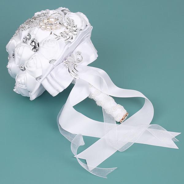 Свадебный Букет Атласная Свадебная Брошь Ручной Работы Горный Хрусталь Цветок Розы с Искусственным Жемчугом, Украшенные Для Невесты Свадебные Принадлежности