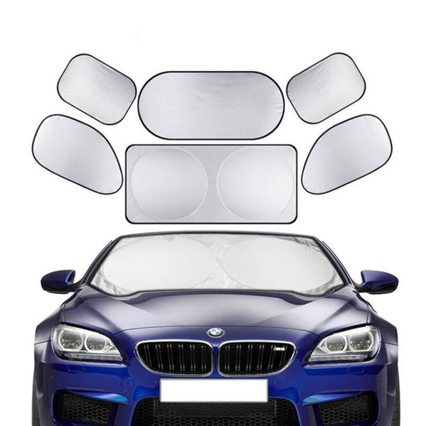 best selling Cars Foldable Windshield Visor Cover Sun Shade Heat Shield Block Front Window Sunshade UV Protect Auto Sun Visor Car-covers 6 Piece