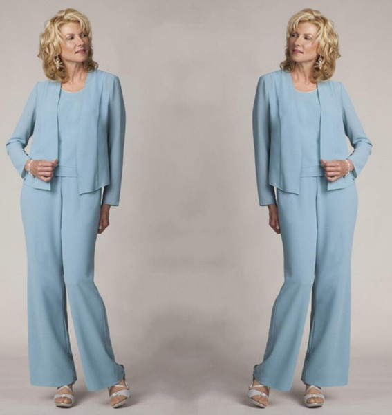 Light Blue Mother Of The Bride Pant Suits Elegant Formal Evening Party Dresses Plus Size Prom Gowns TD1919