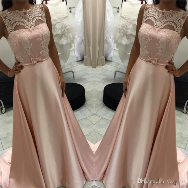 Simple Blush Pink A-Line Prom Dresses Sheer Jewel Neck Illusion Lace Appliques Sash Floor Length Middle East Party Evening Gowns Wear