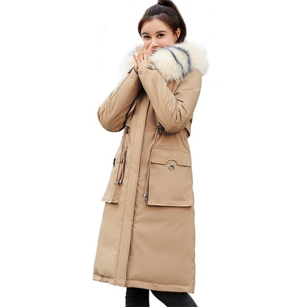 2019 Winter Jacket Women Plus Size XS-3XL Fake Fur Collar Hooded Thick Down Jacket For Women Winter Coat female Slim Parkas
