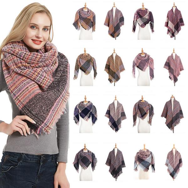 Lady douce Femme Mode Plaid Echarpes hiver chaud imprimé à carreaux Couverture longue Châle extérieure Grille Tassel Scarf TTA1319-33