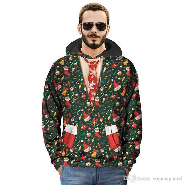 Abbigliamento natalizio da uomo Alberi di Natale da uomo 2d Felpe con cappuccio da adolescente Ragazzi adolescenti Regali da festa freddi Eu Size