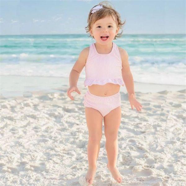 Newest Two-piece Girls Swimming Clothing Suits Sleeveless Belt Tops Stripes Pink Blue Girls Swimming 2pcs Bikini Outfits
