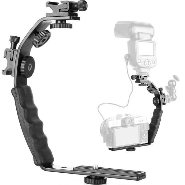 Cheap Photo Studio Accessories Universal Metal L Shape Flash Light Bracket Camera Grip Video Light Rig DV DSLR Holder with 2 Side