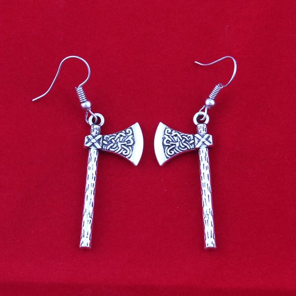 Pendientes de diseño de vikingos de batalla de vikingos de plata vintage para mujer