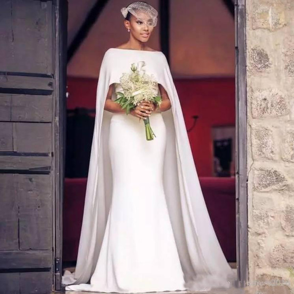 2019 Simple Country Mermaid Wedding Dresses with Long Sweep Wraps Bateau Neck Formal Party Gowns for Bride Short Sleeve Wedding Dresses