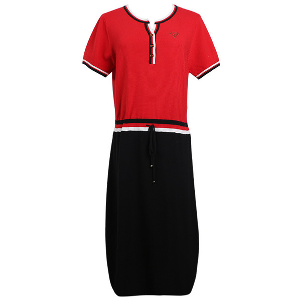2019 Summer New Women's Turtleneck Short Sleeve Contrast Stripe Red Black Colorblock Medium Long Slim Knit Dress SIZE S-L Designer