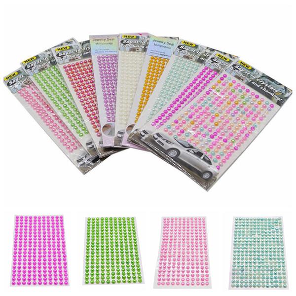 IY Vestuário De Costura De Tecido De Strass 260pcs 6mm Meia-redonda Pérola Beads Auto-Adesivo De Strass Cristal De Acrílico Adesivos DIY Multicolor D ...