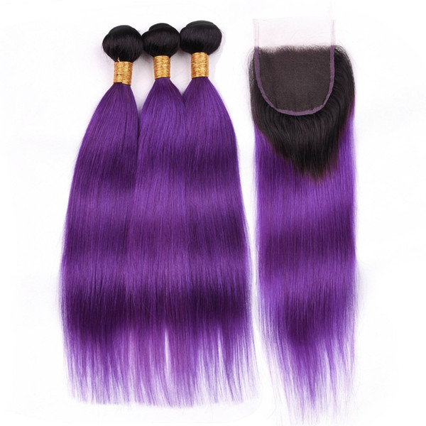 #1B/Purple Ombre Indian Human Hair Straight Weave Bundles with Closure Ombre Purple Virgin Hair 3Bundles Dark Roots with 4x4 Lace Closure