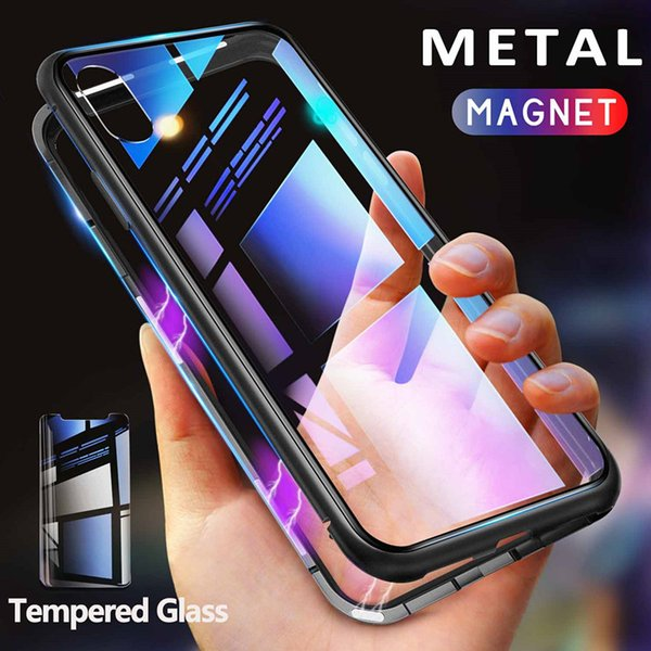 Metal Magnetic Case for iPhone XR XS MAX X 8 Plus 7 +Tempered Glass Back Magnet Cases Cover for iPhone7Plus Case 360-degree all-metal frame