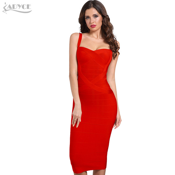Adyce 2019 New Woman Bandage Dresses Yellow White Red Blue Pink Backless Club Sexy Celebrity Bodycon Party Dress Vestidos J190529