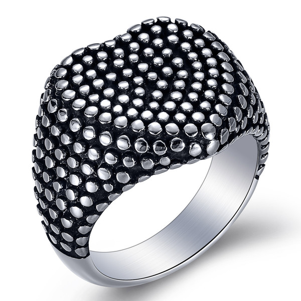 Factory Wholesale Peach Heart Dot Black Male Ring Titanium Steel Man's Ring Vintage Silver Newest Arrival
