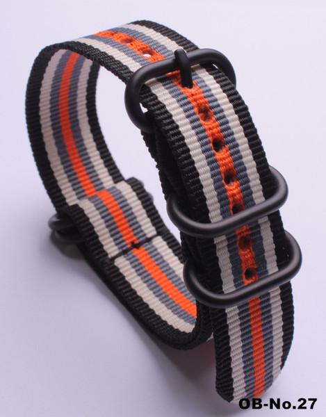 1 PCS de alta qualidade 18 MM 20 MM 22 MM 24 MM - (preto-bege-cinza-laranja) - Nylon Watch band cintas pulseira de relógio à prova d 'água