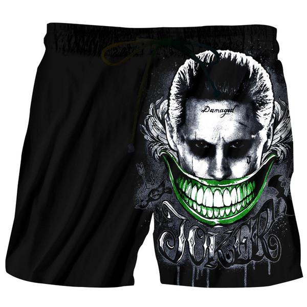 Men Beach Shorts Homme Print 3D Anime Big Mouth Joker Bermuda Swimwear Quick Dry Boardshort Sea Shorts Maillot De Bain 5XL