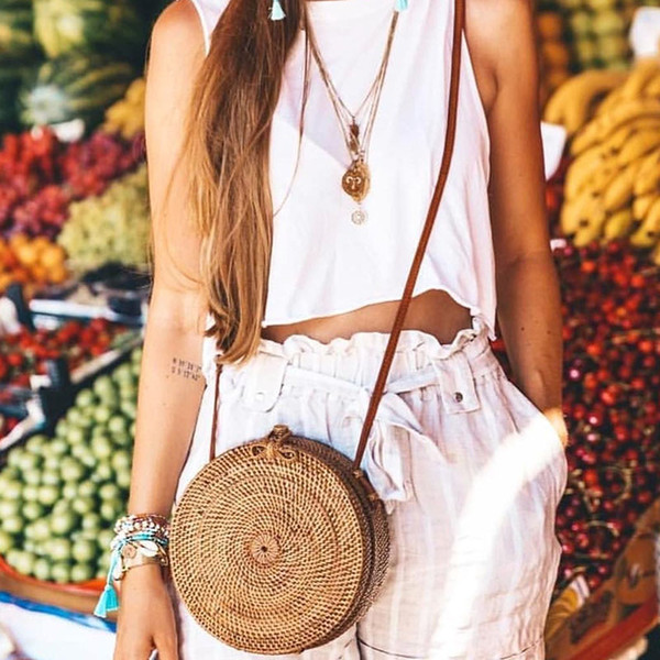 Small Shoulder Bag Straw For Women Handbags Bali Rattan Handbag Round Sac A Main Female Woven Bahomian Beach Bag Straw Hobo