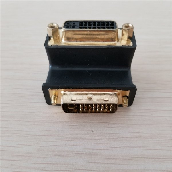 90 Degree Elbow 24Pin + 5Pin DVI Adapter Extension Converter Connector Plug Male to Female Gold-Plated for Graphics Card TV
