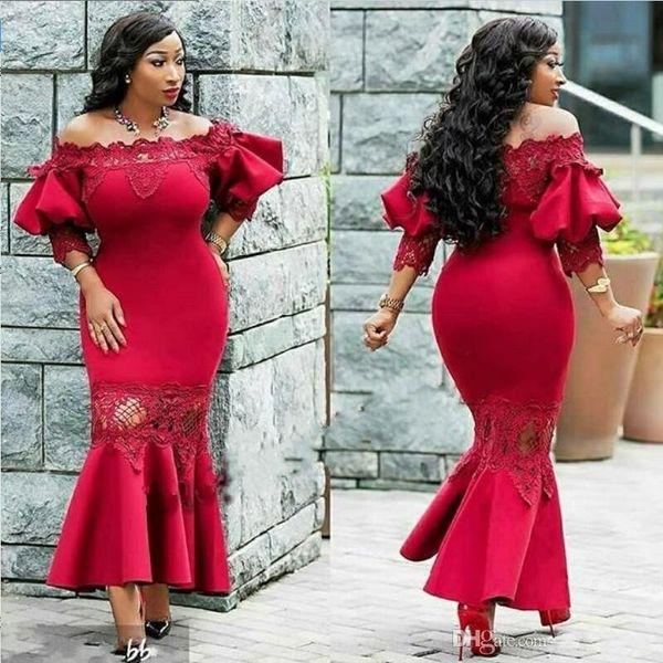Red Off Shoulder Vestidos de noche Poet Lace Mangas cortas Sirena Vestidos de baile Longitud de té Satén Ruffles Mujeres de talla grande Vestidos de fiesta