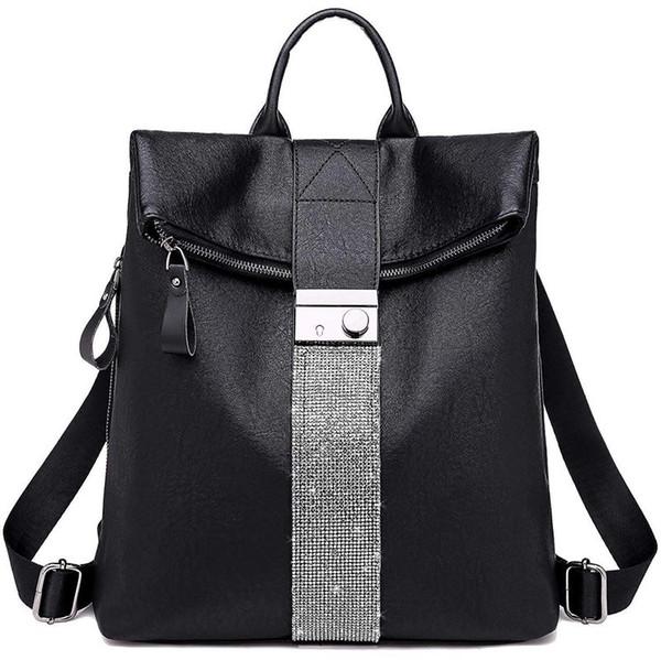 Sac à dos sac à main pour sac à main en cuir PU et sacs à bandoulière en cuir PU école de la mode, 1-Noir