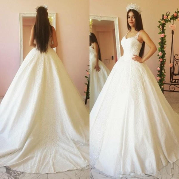 2019 Luxury Design Ball Gown Arabic Wedding Dresses Spaghetti Straps Floral Appliques Lace Bridal Gowns robes de soiré Custom Size