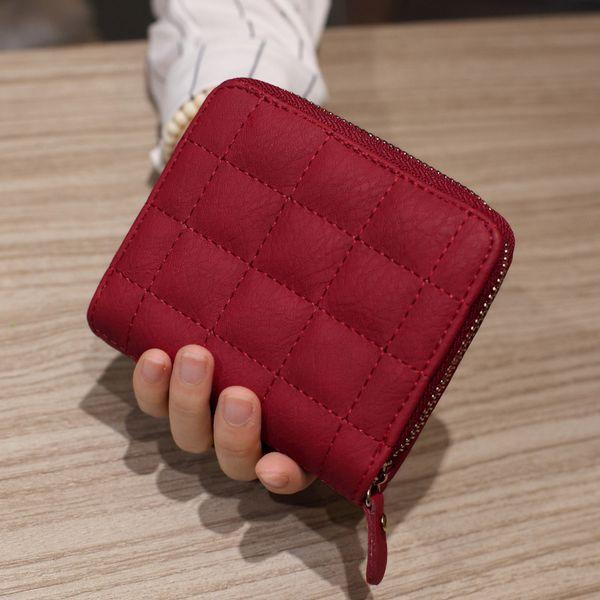 Hot Selling Fashion Women Small Purse Six Colors Mini Grid Wallet Zipper Small Coin Purses