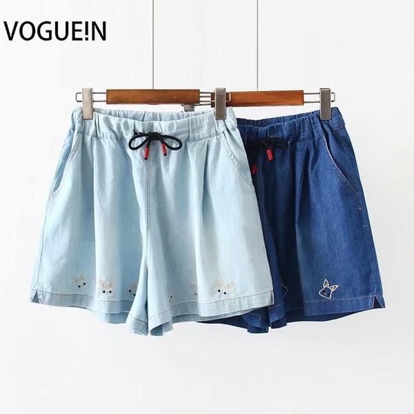 VOGUEIN Новые женские кролики вышитые карманы Drawstring джинсовые джинсы шорты шорты оптом