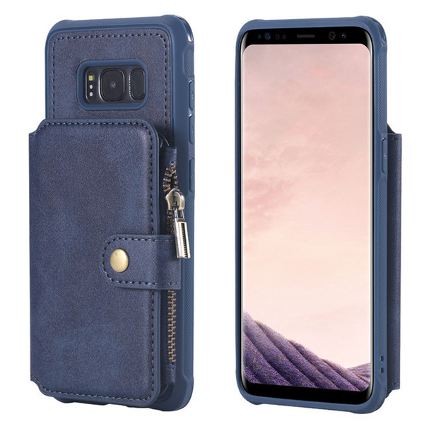 New Arrival zipper pouch leather phone case holder stand wallst case for samsung s8, for samsung s8 leather wallet flip case