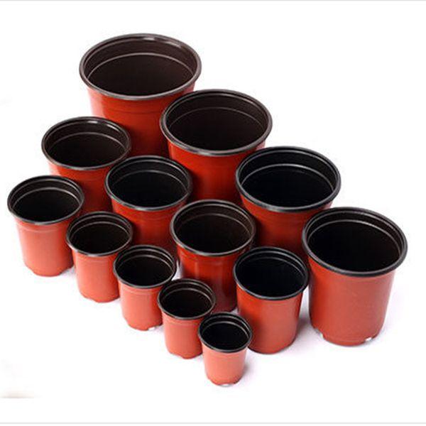 top popular Double Color Flower Pots Plastic Red Black Nursery Transplant Basin Unbreakable Flowerpot Home Planters Garden Supplies 2021