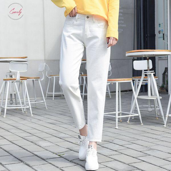 Schwarz 2019 zerrissene Jeans-Frau mit hohen Taille Boyfriend-Jeans für Frauen plus Size Blue Fashion White Denim Mom-Jeans-Hose