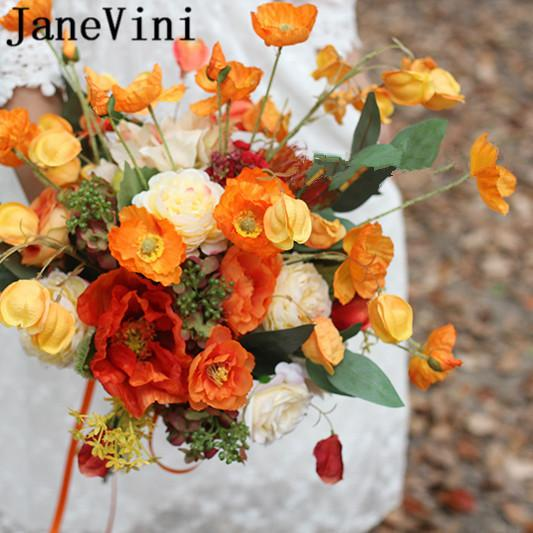 JaneVini 2019 Fleur Orange Brides Bouquet Wedding Flowers Bukiet Slubny Silk Yellow Artificial Bridal Ribbon Brooch Bouquets Hand Holder