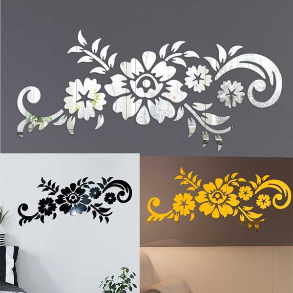 Pegatinas de pared para habitaciones de niños 3D Diy Flower Fashion Acrylic Wall Sticker Pegatinas modernas Pegatinas de decoración Muraux Wall Art