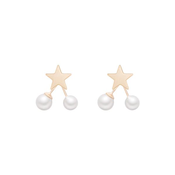 Sonho de seu sul-coreano gentil pouco brincos Pearl Star, temperamento feminino, estrela de cinco pontas Brincos E834