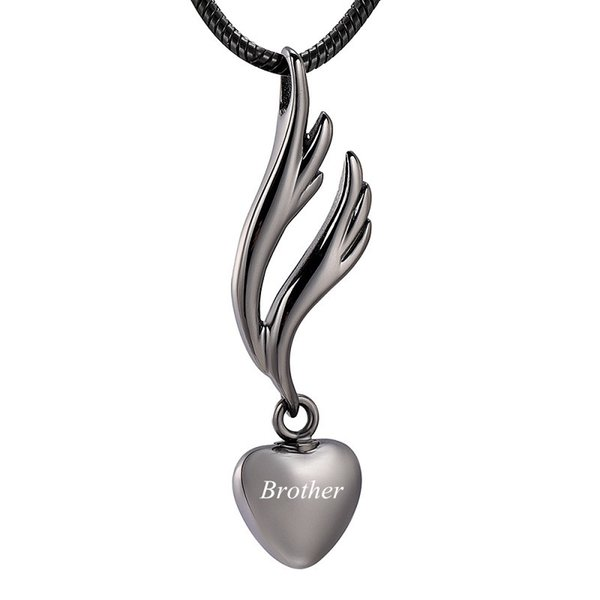 IJD9950 Lashtite Pendant by Gun Color Wing Cremation Pendant for Ashes Urn Custom Engraved Casket Keepsake Memorial Necklace Jewelry