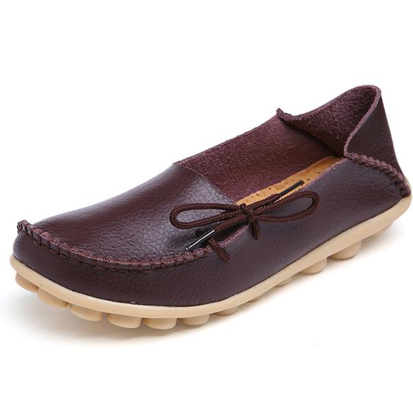 Plus Size 34-44 Frauen Ballerinas Schuhe Frauen aus echtem Leder Krankenschwester Schuhe Causal Woman Loafers