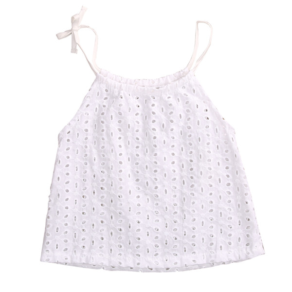 2018 Hot Cute Newborn Toddler Baby Girl White Hollow Out Lace T-shirt Top Children Kids Braces Top Tee 0-3Y