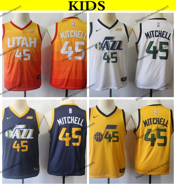 8f47c6918 2019 Kids Utah #45 Jazzes Donovan Mitchell Basketball Jerseys Youth Donovan  Mitchell City Yellow Stitched
