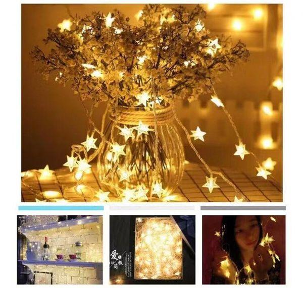 top popular LED Star Christmas Fairy String Light Wedding Garland Outdoor Garden Xmas Festival Party Holiday Fairy Light 2019