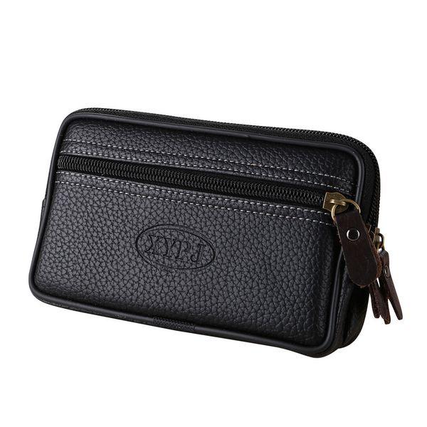 Vintage Men Pure color Leather Messenger Bag Coin Bag Phone Clutch Waist wallet leather